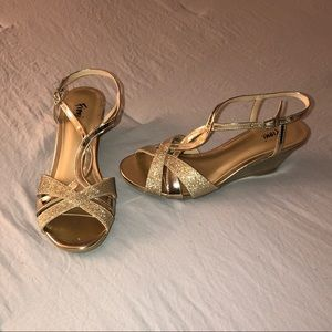 Gold Wedges with Sparkly Straps